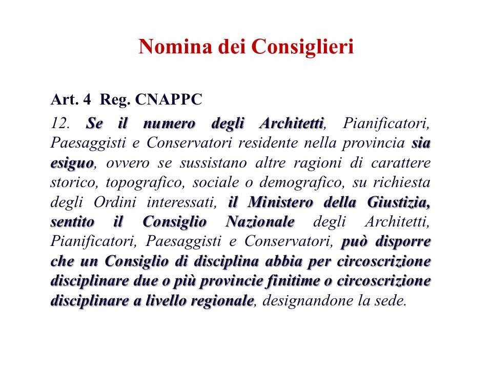Art. 4 Reg. CNAPPC Se il numero degli Architetti sia esiguo il Ministero della Giustizia, sentito il Consiglio Nazionale può disporre che un Consiglio