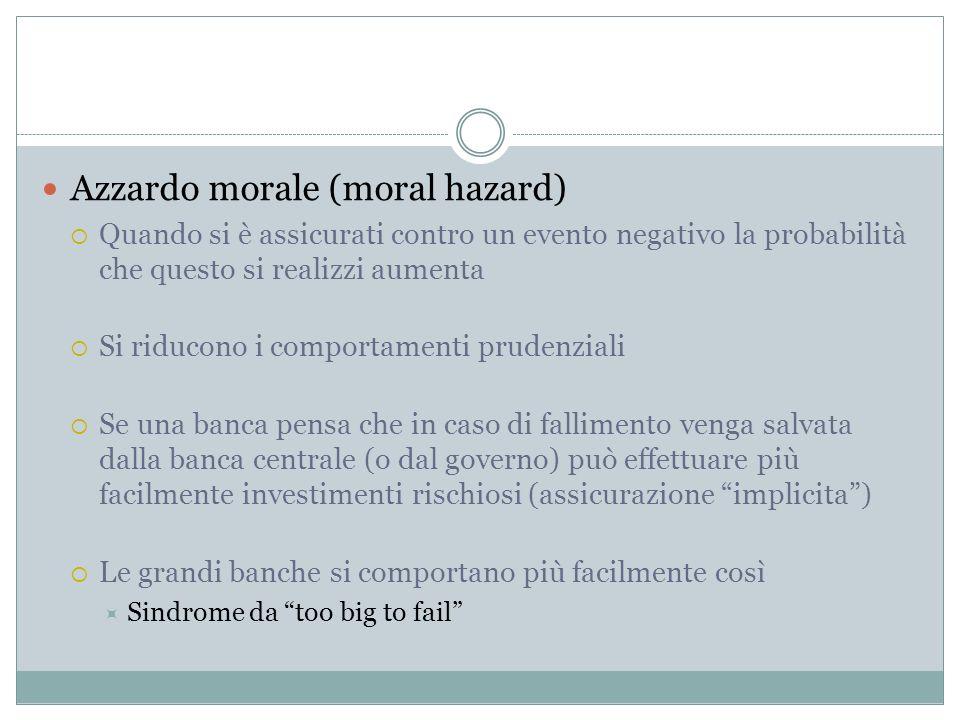 Azzardo morale (moral hazard) Quando si è assicurati contro un evento negativo la probabilità che questo si realizzi aumenta Si riducono i comportamen