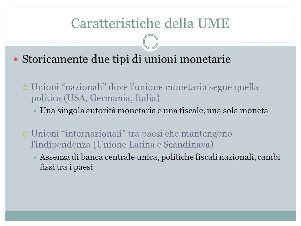 Caratteristiche della UME Storicamente due tipi di unioni monetarie Unioni nazionali dove lunione monetaria segue quella politica (USA, Germania, Ital