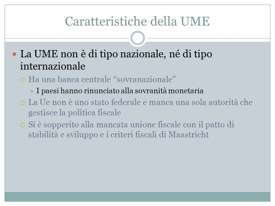Caratteristiche della UME La UME non è di tipo nazionale, né di tipo internazionale Ha una banca centrale sovranazionale I paesi hanno rinunciato alla