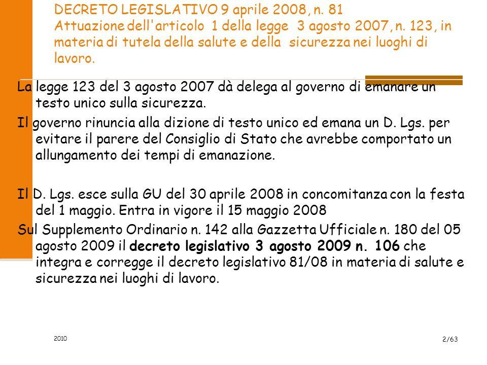 2010 DECRETO LEGISLATIVO 9 aprile 2008, n.