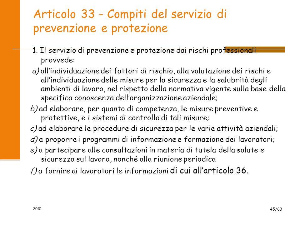 Articolo 33 - Compiti del servizio di prevenzione e protezione 1.