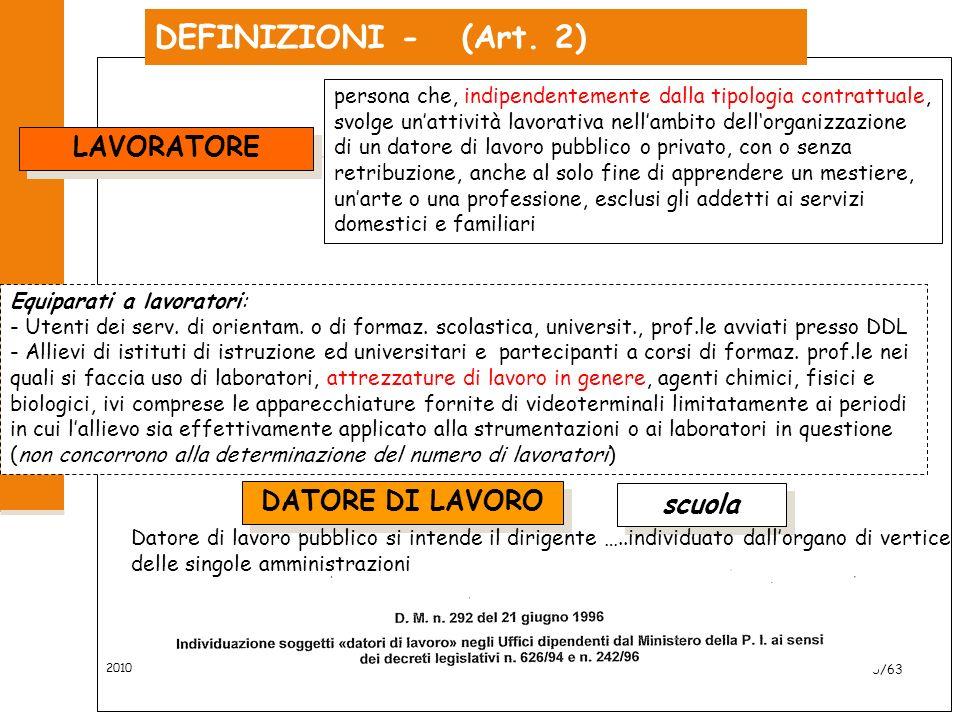 2010 6/63 DEFINIZIONI - (Art.2) LAVORATORE Equiparati a lavoratori: - Utenti dei serv.