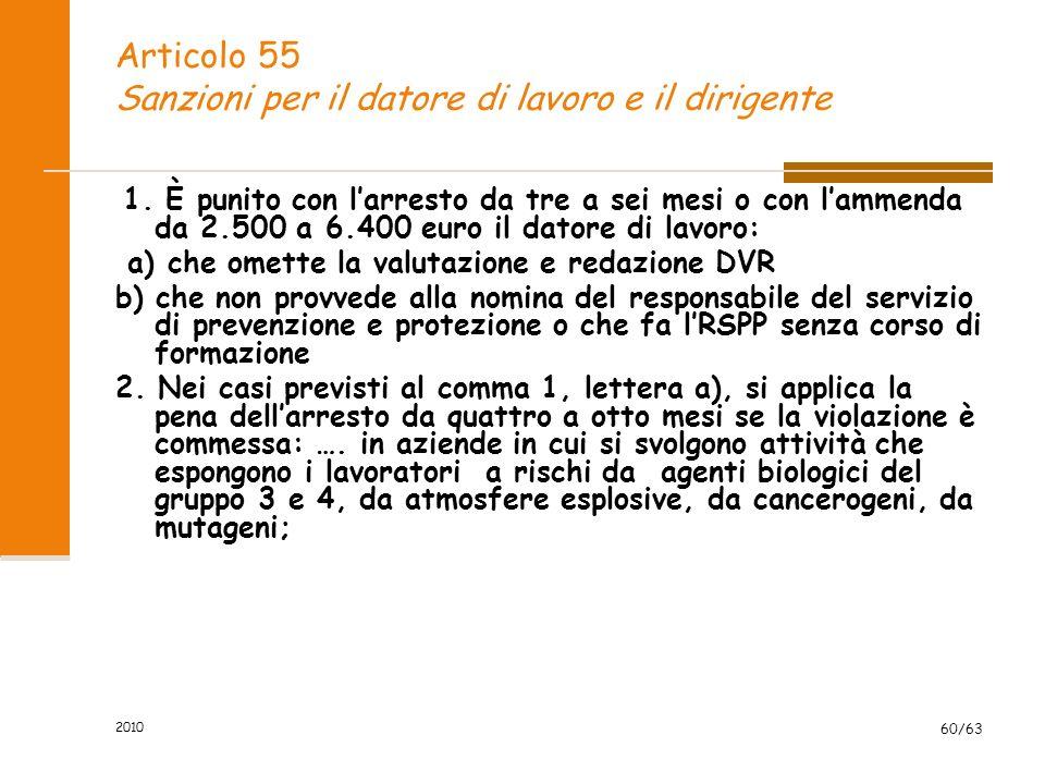 2010 60/63 Articolo 55 Sanzioni per il datore di lavoro e il dirigente 1.