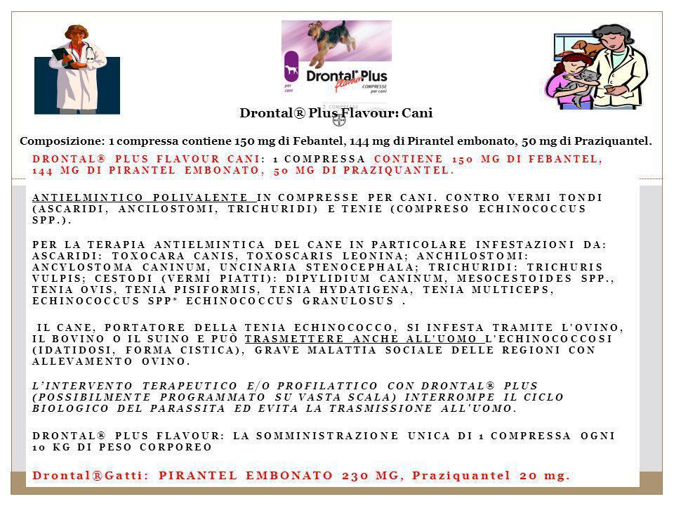 DRONTAL® PLUS FLAVOUR CANI: 1 COMPRESSA CONTIENE 150 MG DI FEBANTEL, 144 MG DI PIRANTEL EMBONATO, 50 MG DI PRAZIQUANTEL.