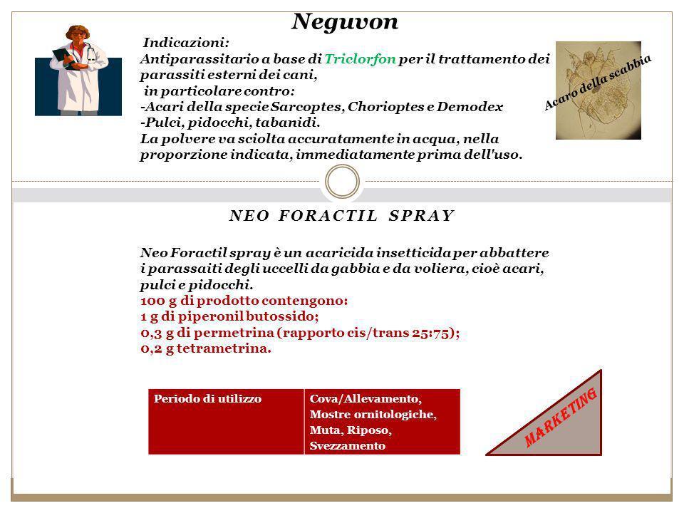 NEO FORACTIL SPRAY Neguvon Indicazioni: Antiparassitario a base di Triclorfon per il trattamento dei parassiti esterni dei cani, in particolare contro: -Acari della specie Sarcoptes, Chorioptes e Demodex -Pulci, pidocchi, tabanidi.