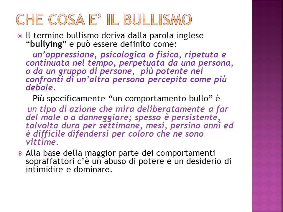 Il termine bullismo deriva dalla parola inglesebullying e può essere definito come: unoppressione, psicologica o fisica, ripetuta e continuata nel tem