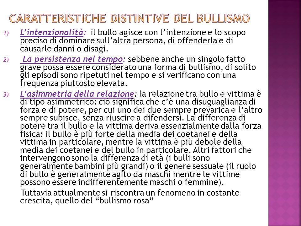1) Lintenzionalità: il bullo agisce con lintenzione e lo scopo preciso di dominare sullaltra persona, di offenderla e di causarle danni o disagi. 2) L