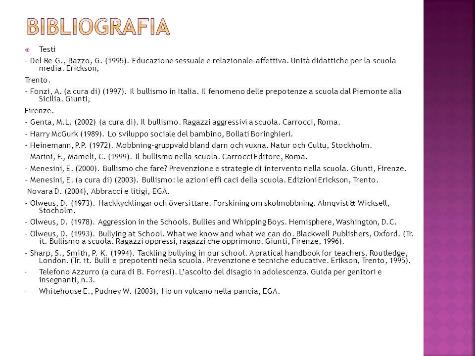 Testi - Del Re G., Bazzo, G. (1995). Educazione sessuale e relazionale-affettiva. Unità didattiche per la scuola media. Erickson, Trento. - Fonzi, A.