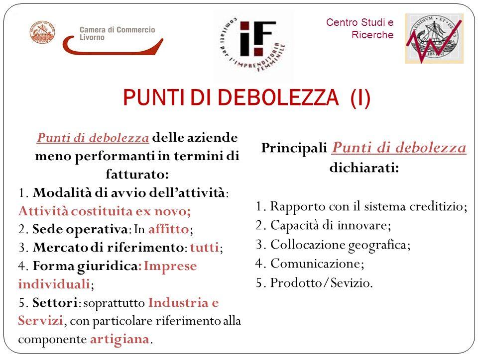 Centro Studi e Ricerche PUNTI DI FORZA (II) Principali Punti di forza dichiarati: 1.