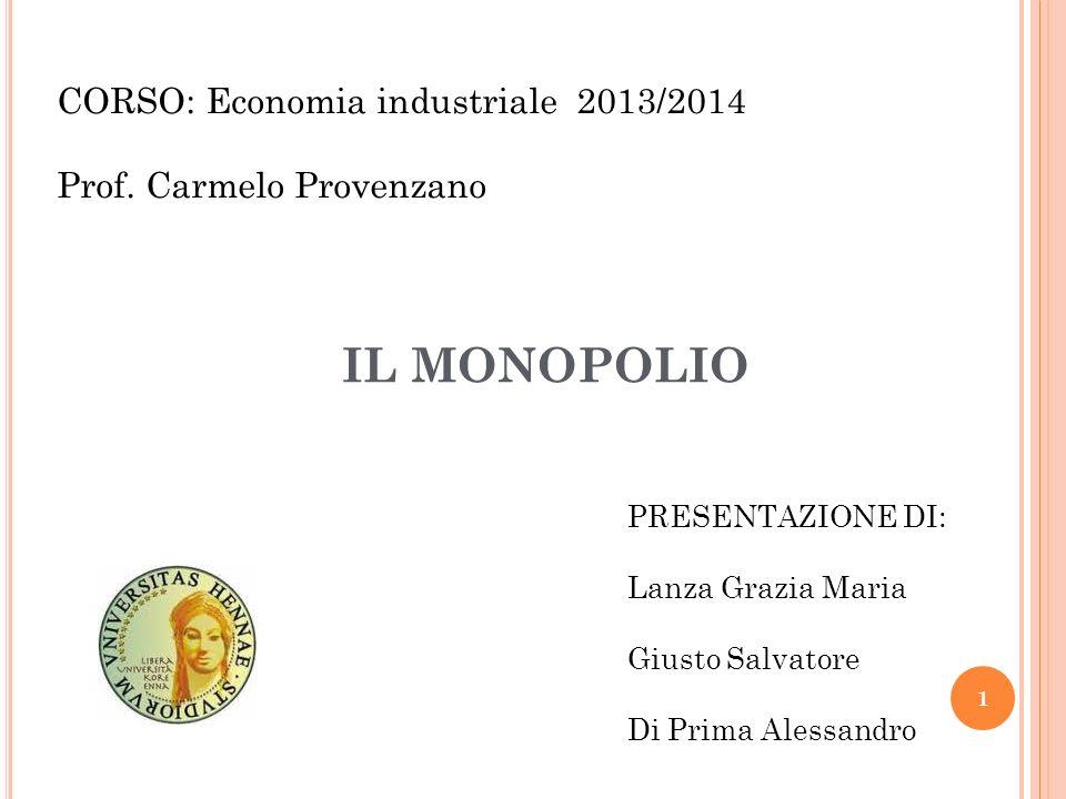 CORSO: Economia industriale 2013/2014 Prof. Carmelo Provenzano IL MONOPOLIO PRESENTAZIONE DI: Lanza Grazia Maria Giusto Salvatore Di Prima Alessandro