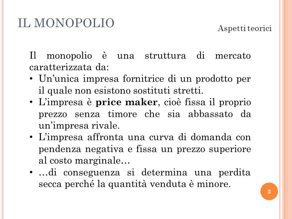IL MONOPOLIO 2 Aspetti teorici Il monopolio è una struttura di mercato caratterizzata da: Ununica impresa fornitrice di un prodotto per il quale non e