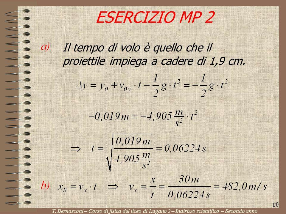 ESERCIZIO MP 2 T. Bernasconi – Corso di fisica del liceo di Lugano 2 – Indirizzo scientifico – Secondo anno 10 Il tempo di volo è quello che il proiet