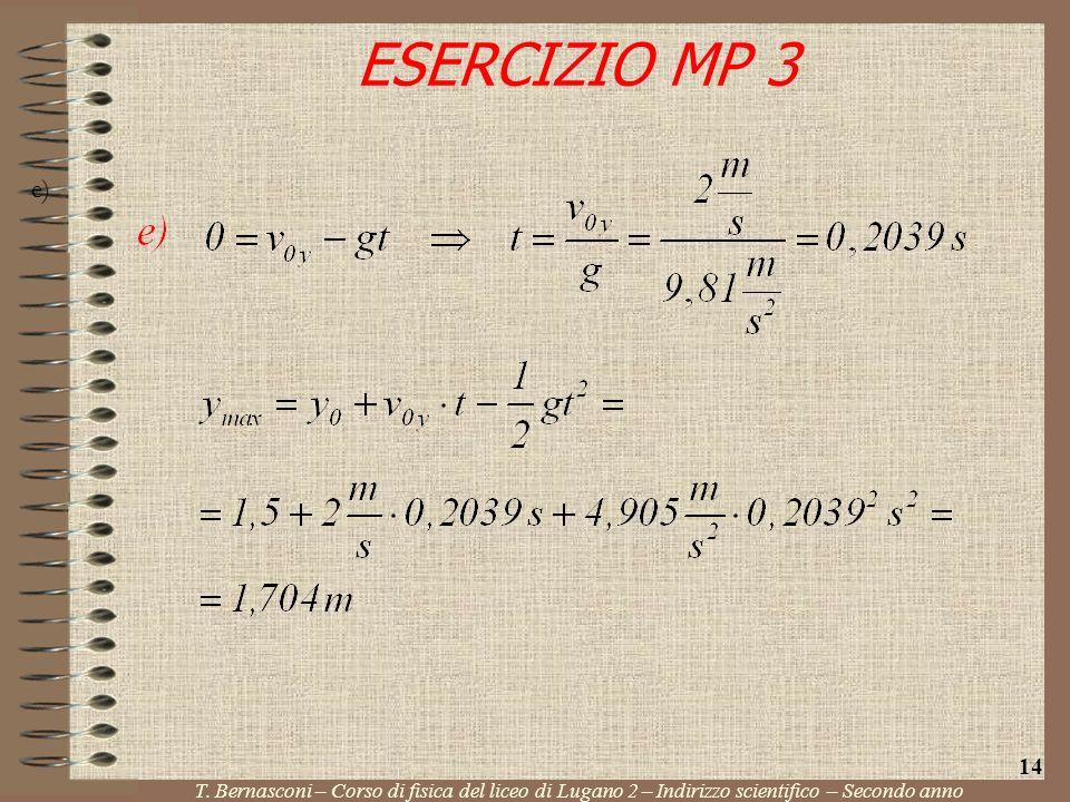 e) ESERCIZIO MP 3 T. Bernasconi – Corso di fisica del liceo di Lugano 2 – Indirizzo scientifico – Secondo anno 14