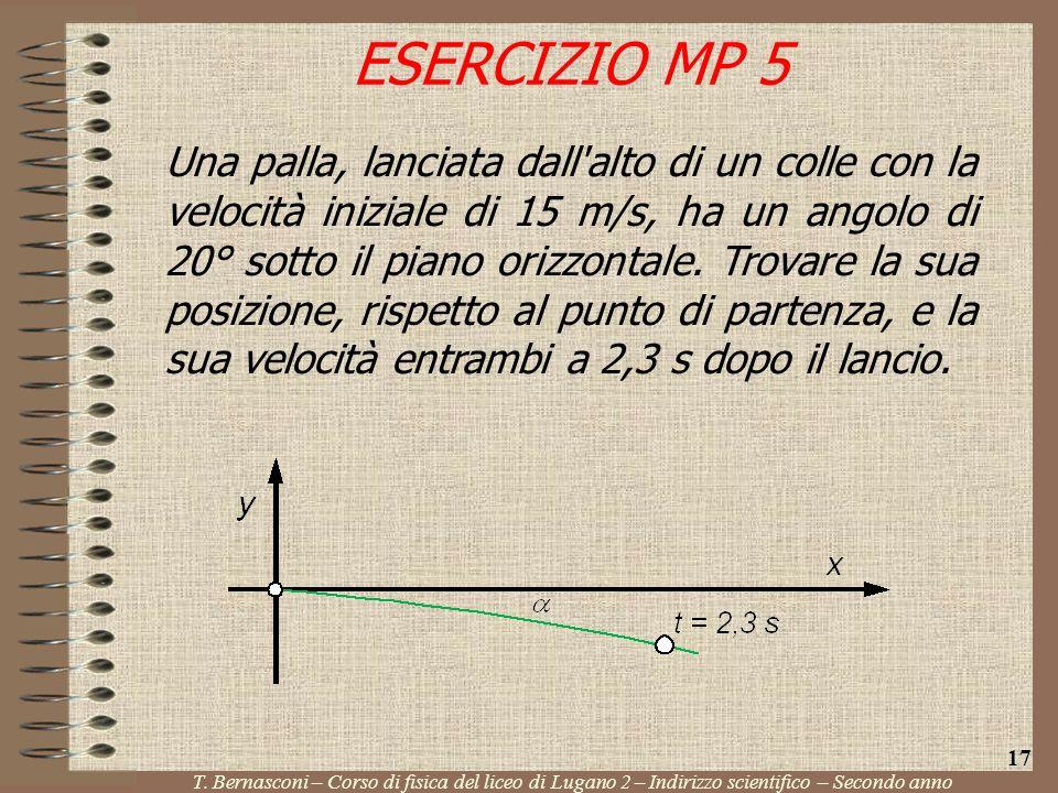 Una palla, lanciata dall'alto di un colle con la velocità iniziale di 15 m/s, ha un angolo di 20° sotto il piano orizzontale. Trovare la sua posizione