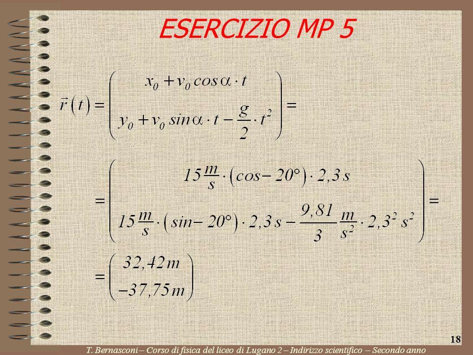 ESERCIZIO MP 5 T. Bernasconi – Corso di fisica del liceo di Lugano 2 – Indirizzo scientifico – Secondo anno 18