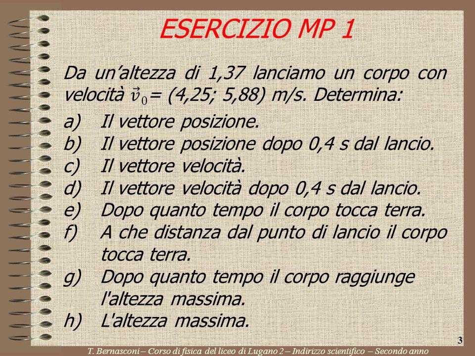 T. Bernasconi – Corso di fisica del liceo di Lugano 2 – Indirizzo scientifico – Secondo anno 3 a)Il vettore posizione. b)Il vettore posizione dopo 0,4