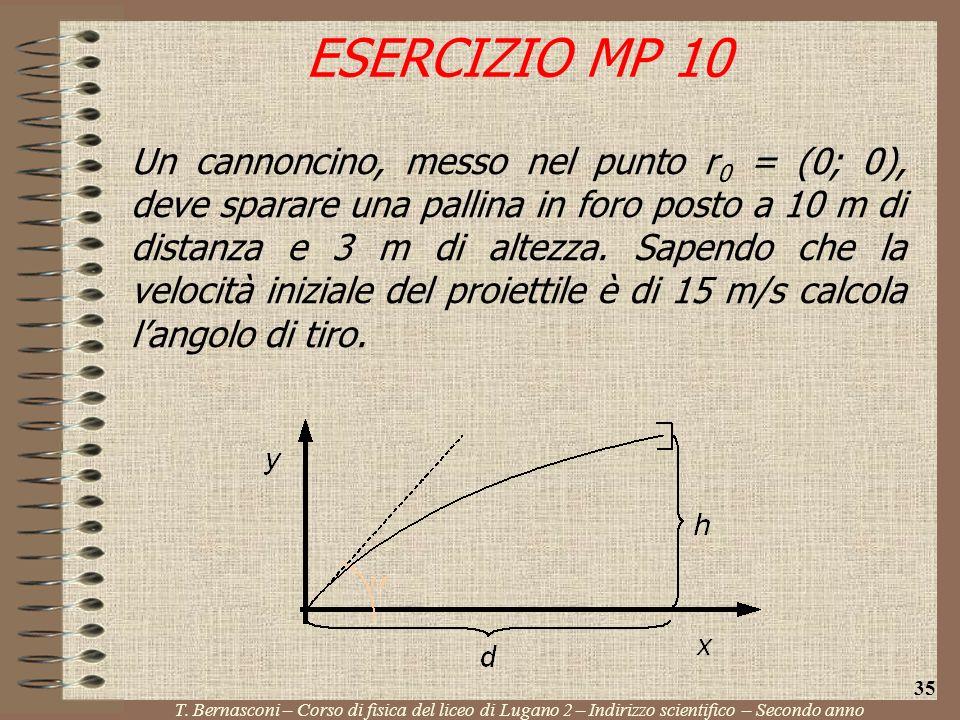Un cannoncino, messo nel punto r 0 = (0; 0), deve sparare una pallina in foro posto a 10 m di distanza e 3 m di altezza. Sapendo che la velocità inizi