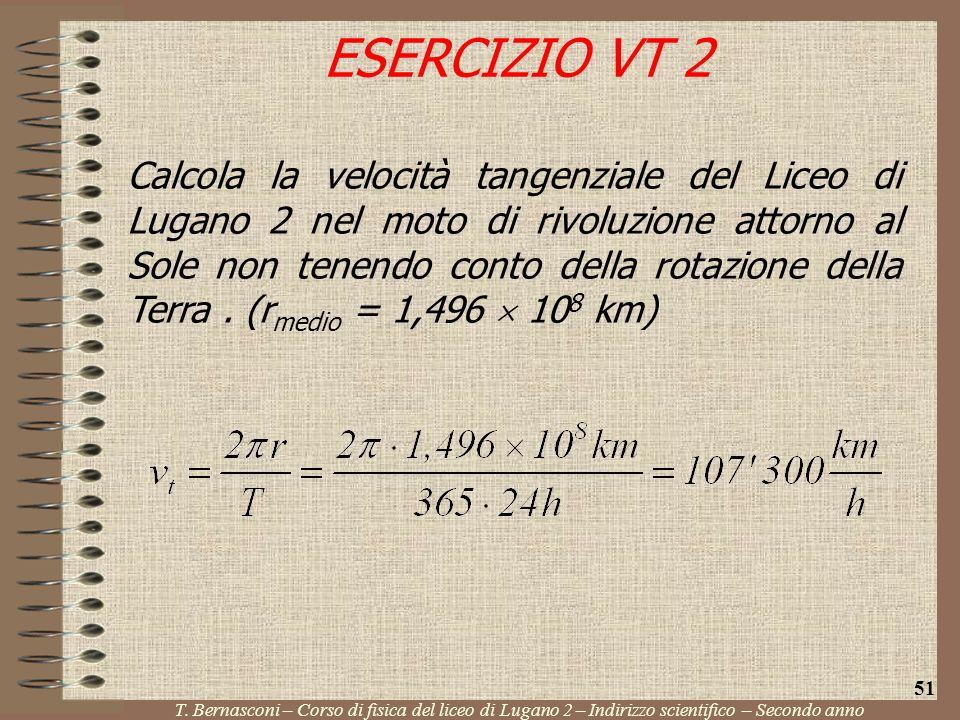 Calcola la velocità tangenziale del Liceo di Lugano 2 nel moto di rivoluzione attorno al Sole non tenendo conto della rotazione della Terra. (r medio