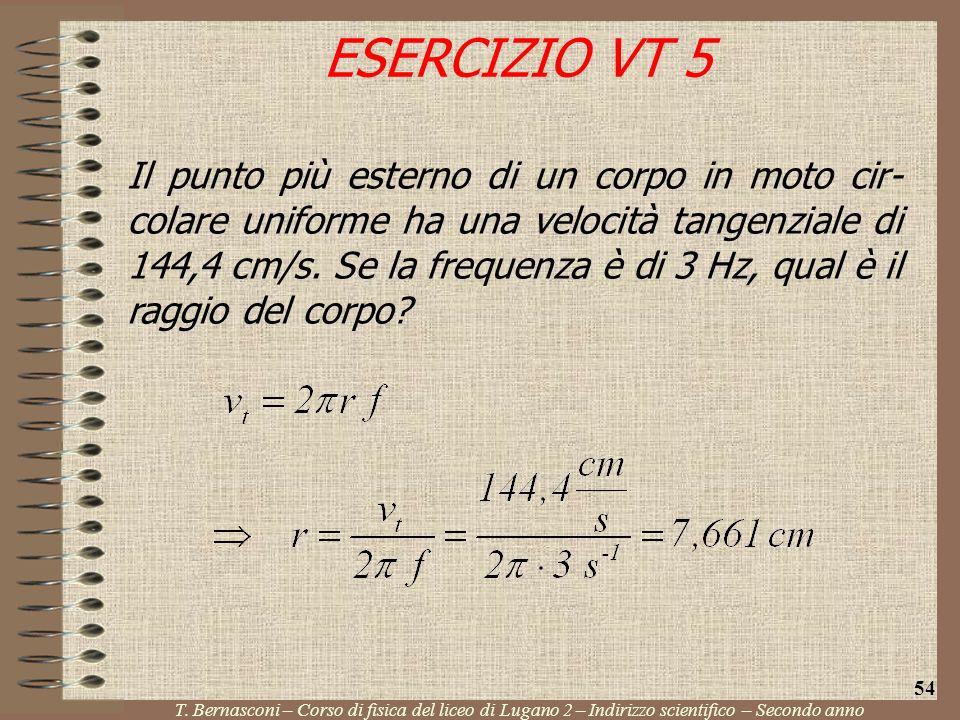 Il punto più esterno di un corpo in moto cir- colare uniforme ha una velocità tangenziale di 144,4 cm/s. Se la frequenza è di 3 Hz, qual è il raggio d