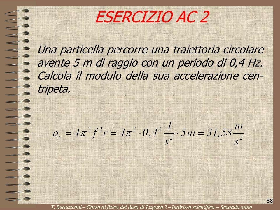 Una particella percorre una traiettoria circolare avente 5 m di raggio con un periodo di 0,4 Hz. Calcola il modulo della sua accelerazione cen- tripet