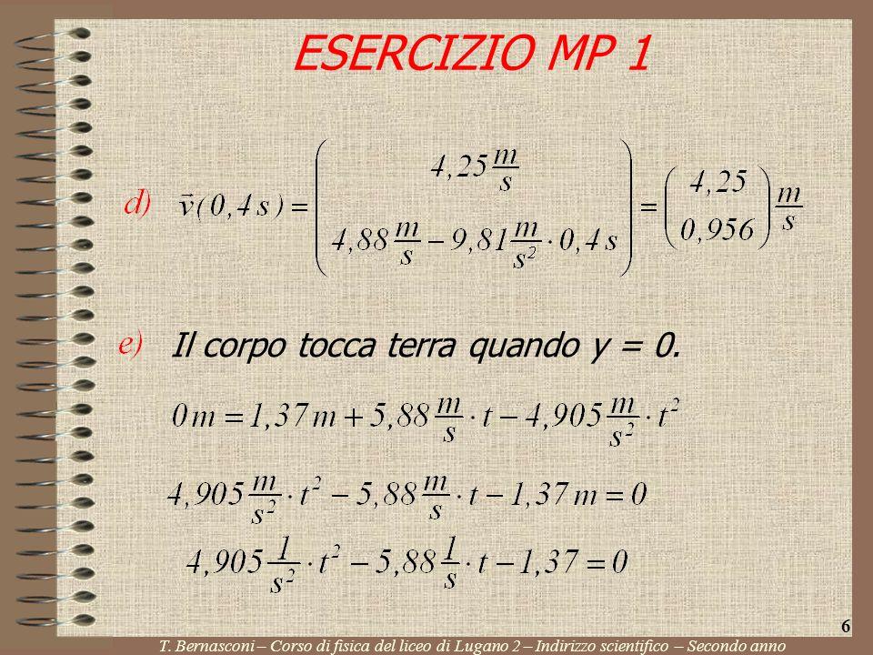ESERCIZIO MP 1 T. Bernasconi – Corso di fisica del liceo di Lugano 2 – Indirizzo scientifico – Secondo anno 6 Il corpo tocca terra quando y = 0.