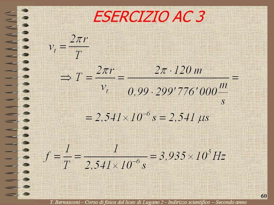 ESERCIZIO AC 3 T. Bernasconi – Corso di fisica del liceo di Lugano 2 – Indirizzo scientifico – Secondo anno 60