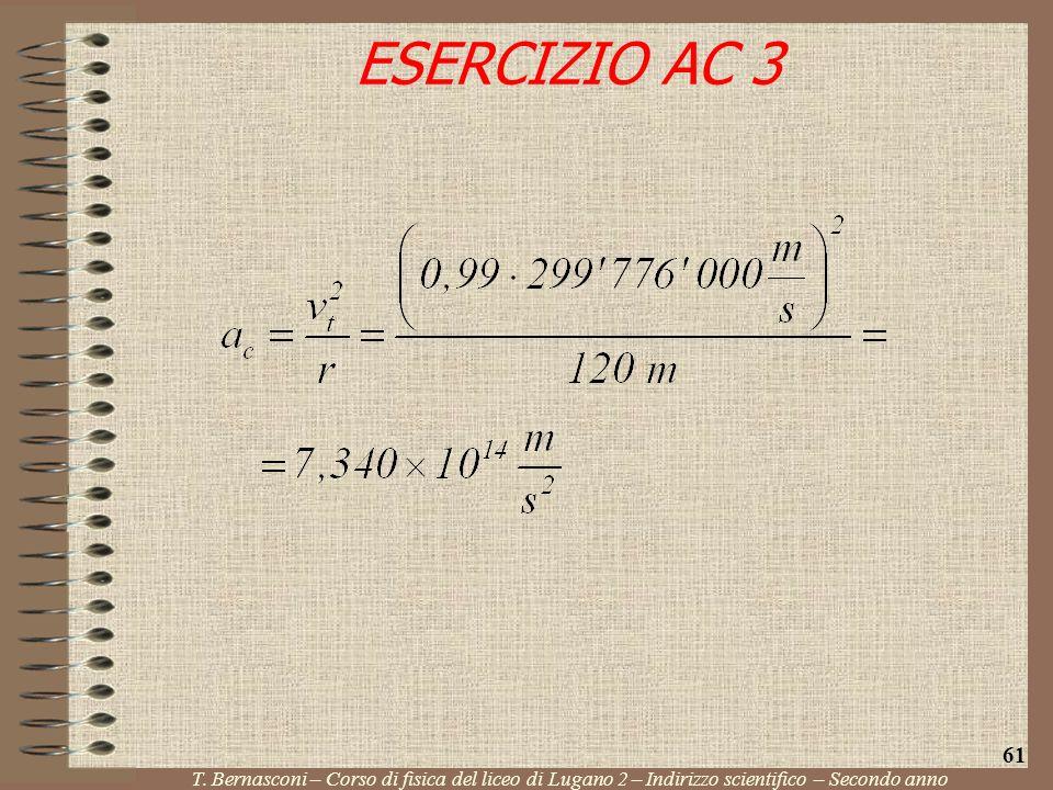 ESERCIZIO AC 3 T. Bernasconi – Corso di fisica del liceo di Lugano 2 – Indirizzo scientifico – Secondo anno 61