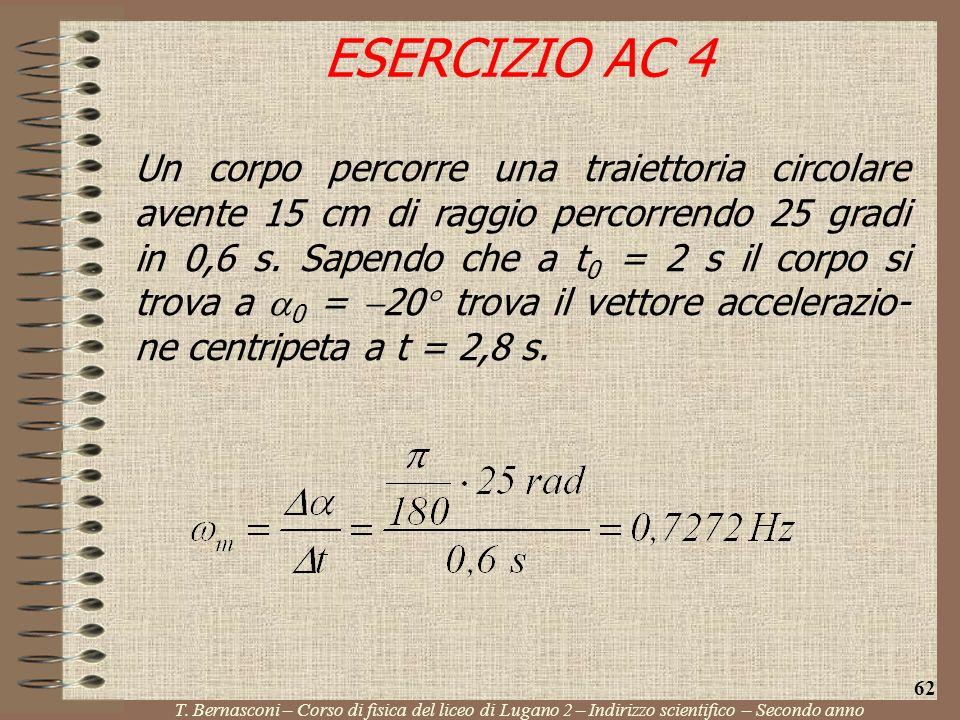 Un corpo percorre una traiettoria circolare avente 15 cm di raggio percorrendo 25 gradi in 0,6 s. Sapendo che a t 0 = 2 s il corpo si trova a 0 = 20 t