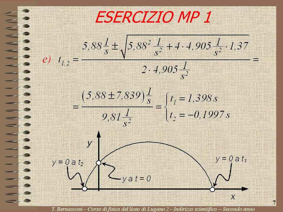 ESERCIZIO MP 1 T. Bernasconi – Corso di fisica del liceo di Lugano 2 – Indirizzo scientifico – Secondo anno 7