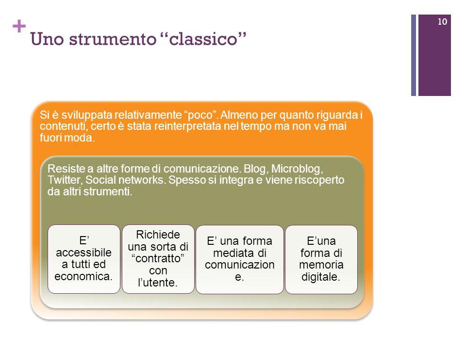 + Uno strumento classico 10 Si è sviluppata relativamente poco.