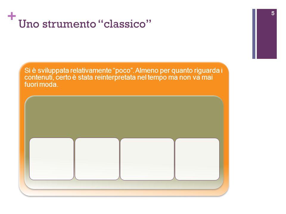 + Uno strumento classico 5 Si è sviluppata relativamente poco.
