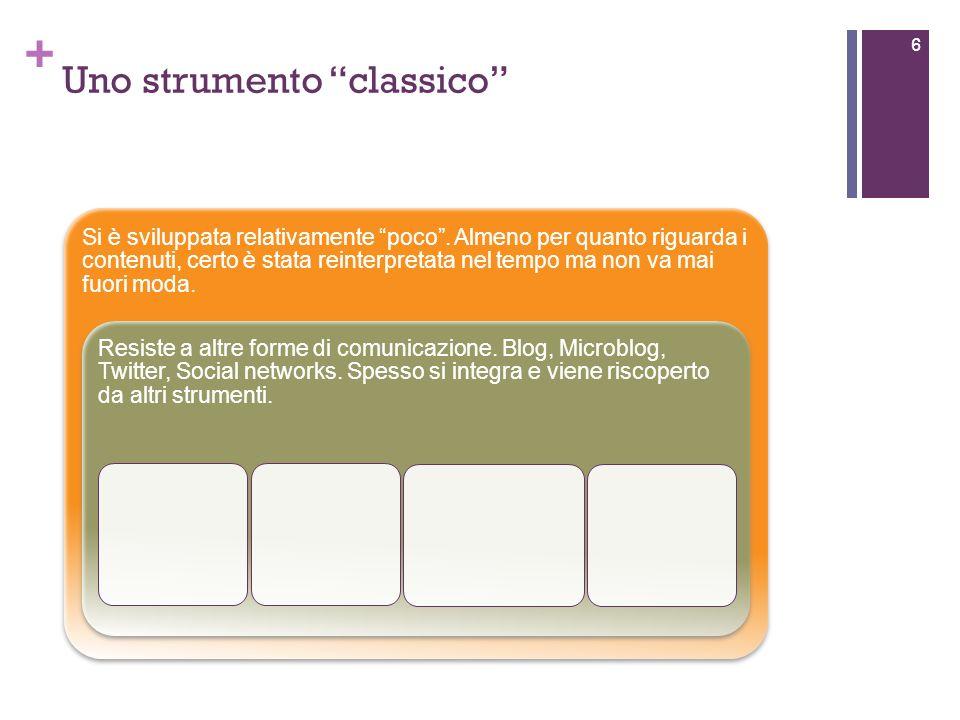 + Uno strumento classico 6 Si è sviluppata relativamente poco.