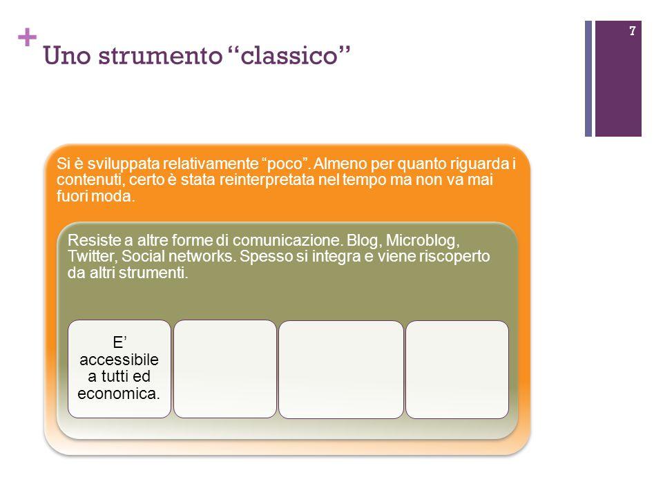 + Uno strumento classico 7 Si è sviluppata relativamente poco.