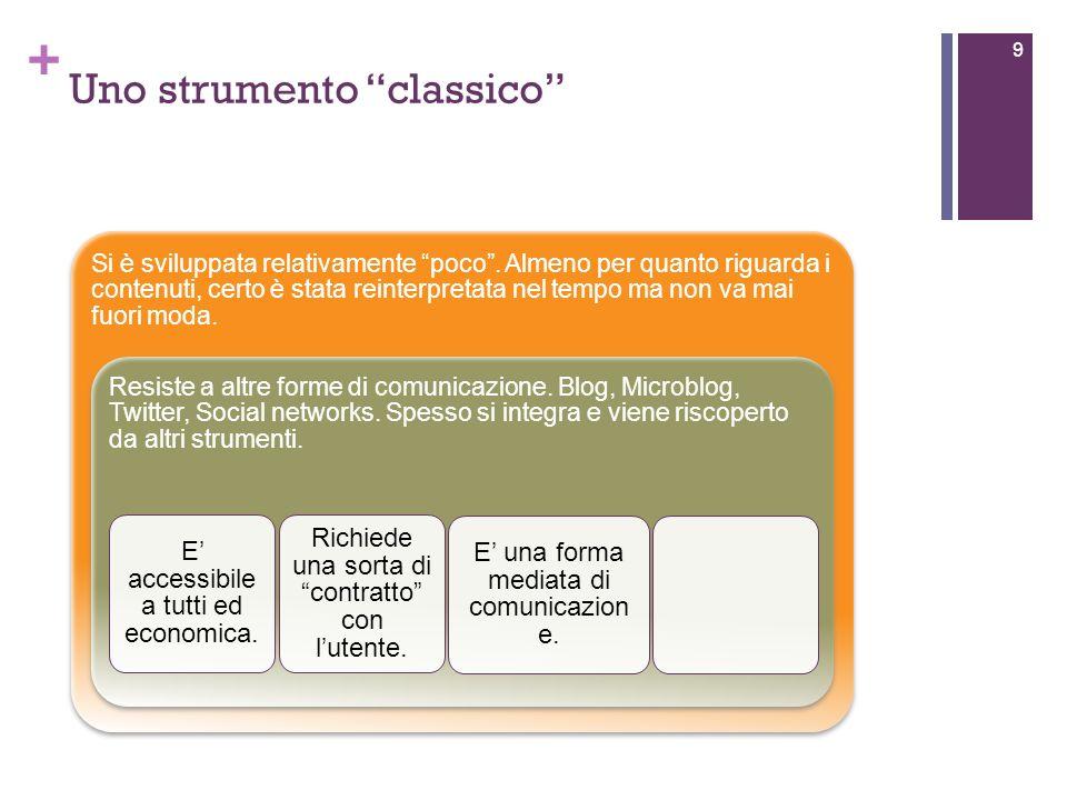 + Uno strumento classico 9 Si è sviluppata relativamente poco.