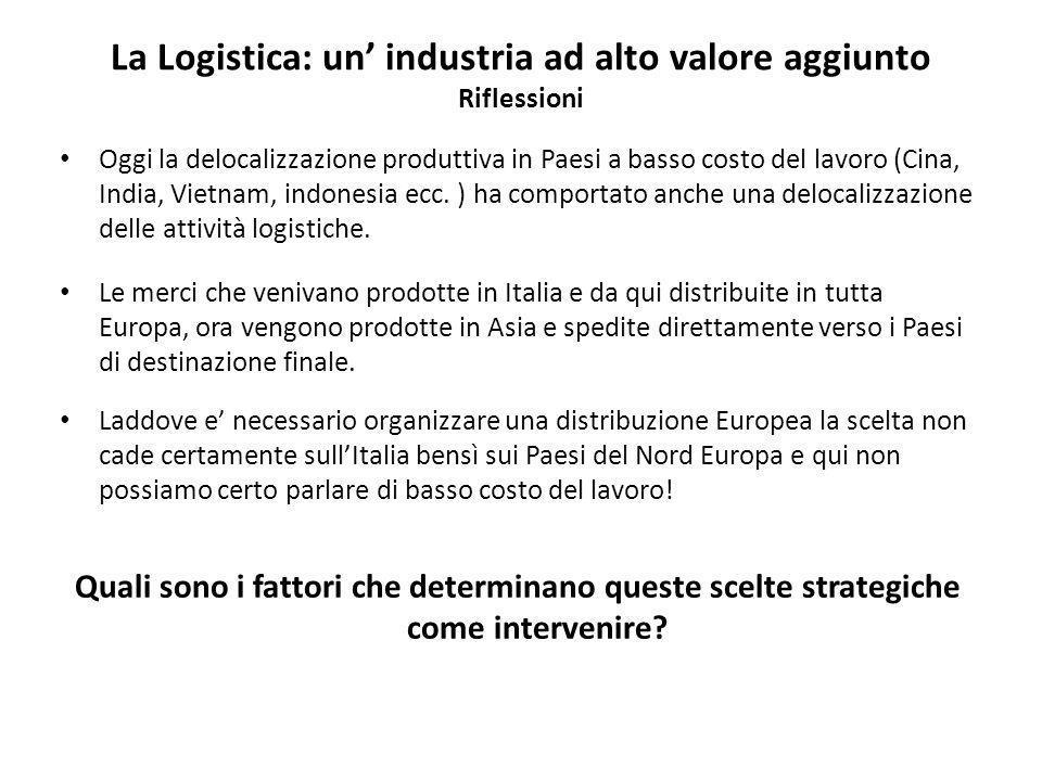 La Logistica: un industria ad alto valore aggiunto Riflessioni Oggi la delocalizzazione produttiva in Paesi a basso costo del lavoro (Cina, India, Vietnam, indonesia ecc.
