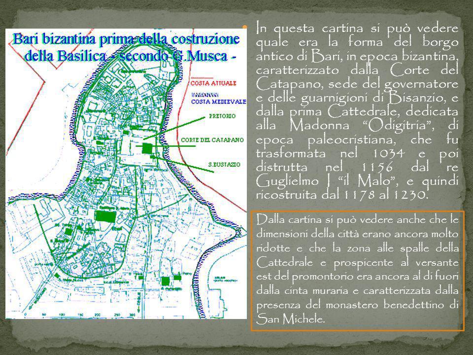 In questa cartina si può vedere quale era la forma del borgo antico di Bari, in epoca bizantina, caratterizzato dalla Corte del Catapano, sede del gov