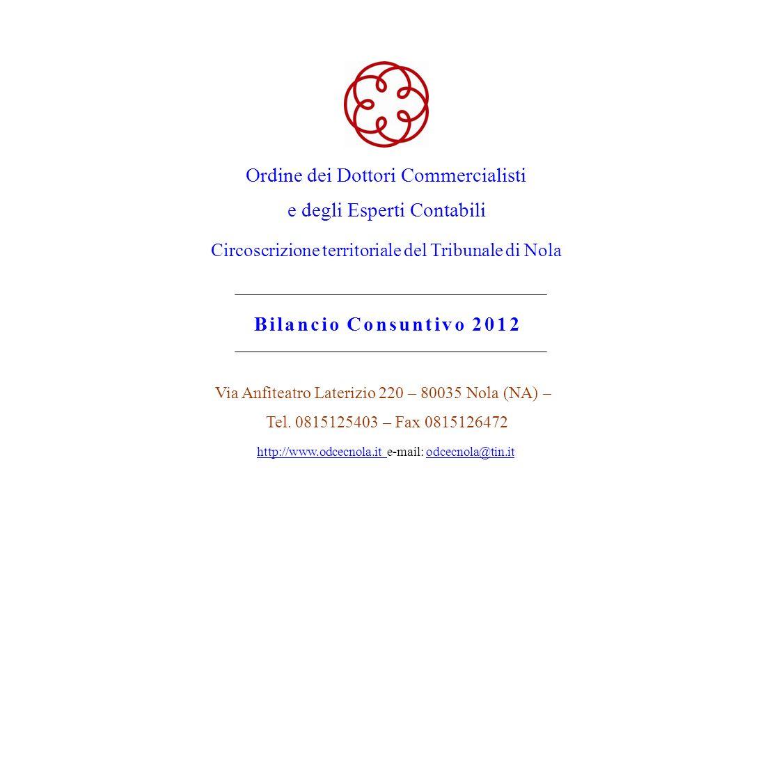 Ordine dei Dottori Commercialisti e degli Esperti Contabili Circoscrizione territoriale del Tribunale di Nola Bilancio Consuntivo 2012 Via Anfiteatro