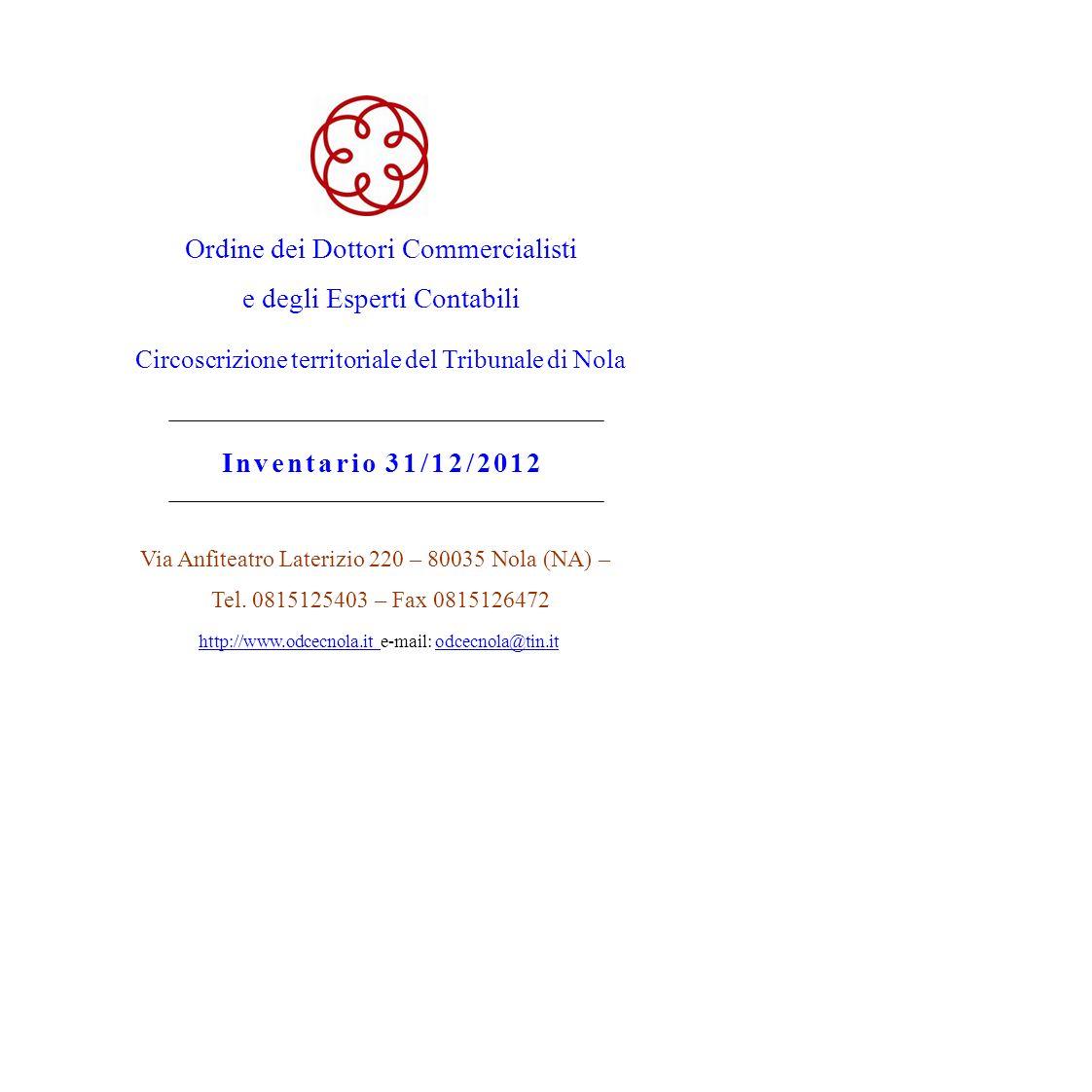Ordine dei Dottori Commercialisti e degli Esperti Contabili Circoscrizione territoriale del Tribunale di Nola Inventario 31/12/2012 Via Anfiteatro Lat