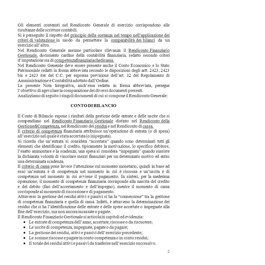 Gli elementi contenuti nel Rendiconto Generale di esercizio corrispondono alle risultanze delle scritture contabili. Si è perseguito il rispetto del p