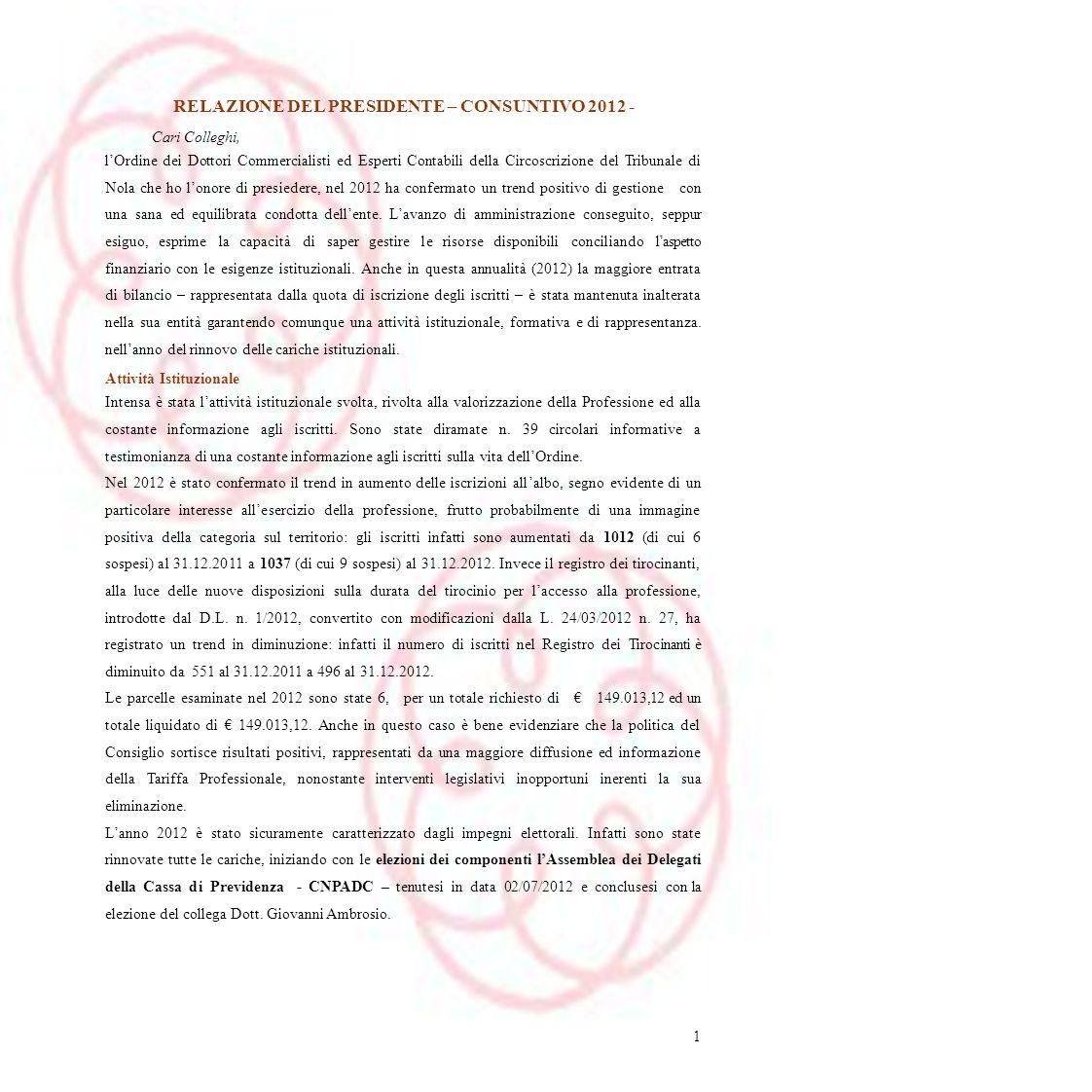 RELAZIONE DEL PRESIDENTE – CONSUNTIVO 2012 - Cari Colleghi, lOrdine dei Dottori Commercialisti ed Esperti Contabili della Circoscrizione del Tribunale