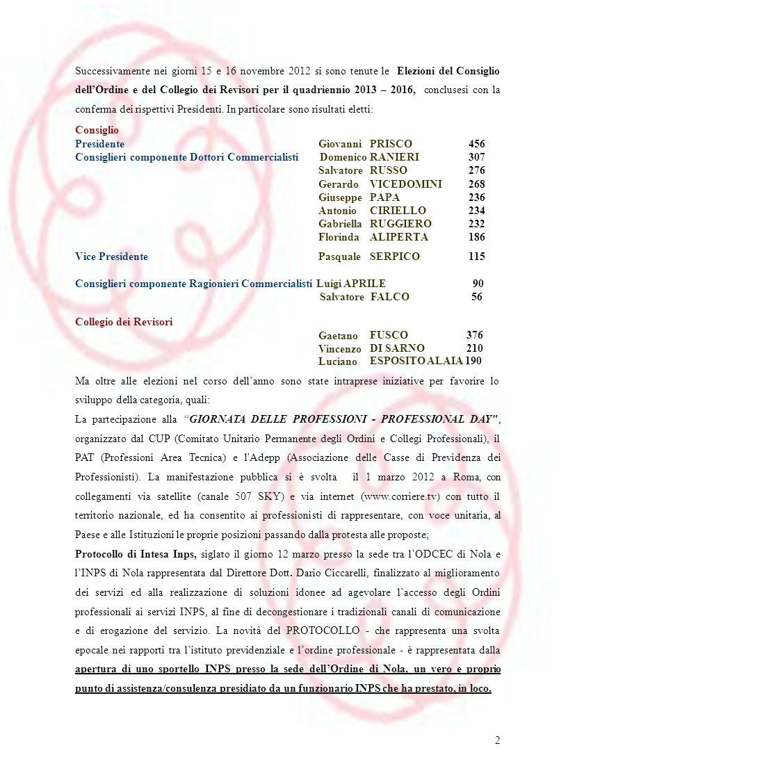 Successivamente nei giorni 15 e 16 novembre 2012 si sono tenute le Elezioni del Consiglio dellOrdine e del Collegio dei Revisori per il quadriennio 20