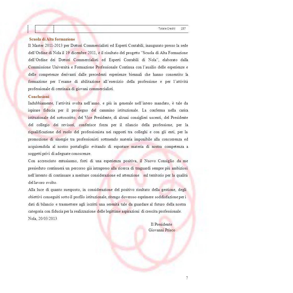 Totale Crediti157 Scuola di Alta formazione Il Master 2011-2013 per Dottori Commercialisti ed Esperti Contabili, inaugurato presso la sede dellOrdine