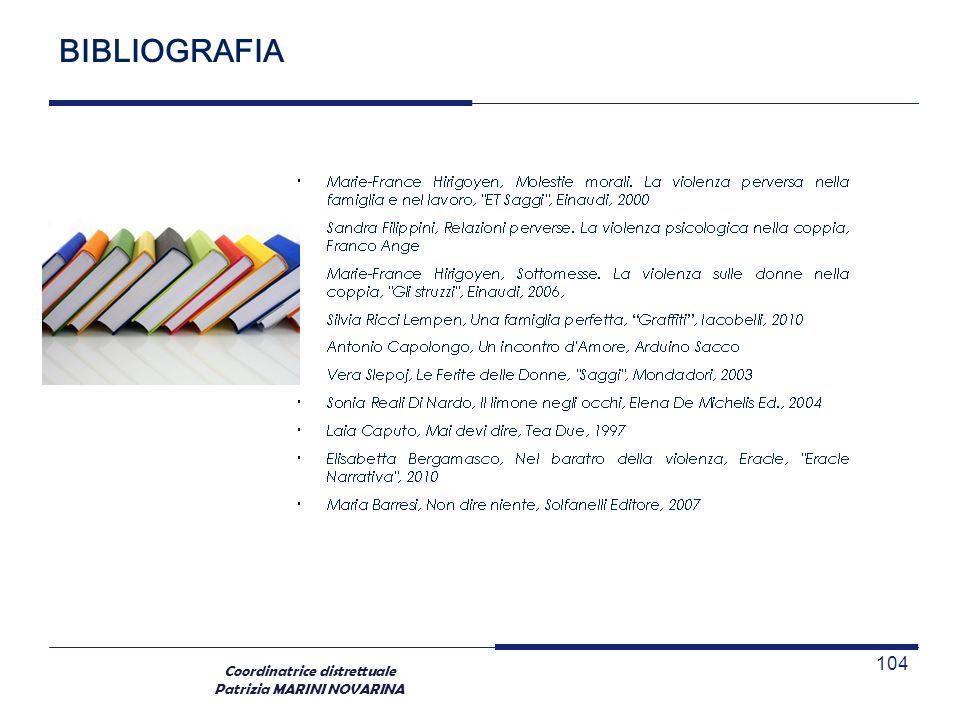 Coordinatrice distrettuale Patrizia MARINI NOVARINA BIBLIOGRAFIA 104
