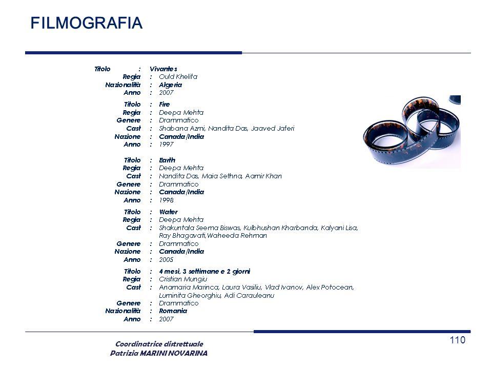 Coordinatrice distrettuale Patrizia MARINI NOVARINA 110 FILMOGRAFIA