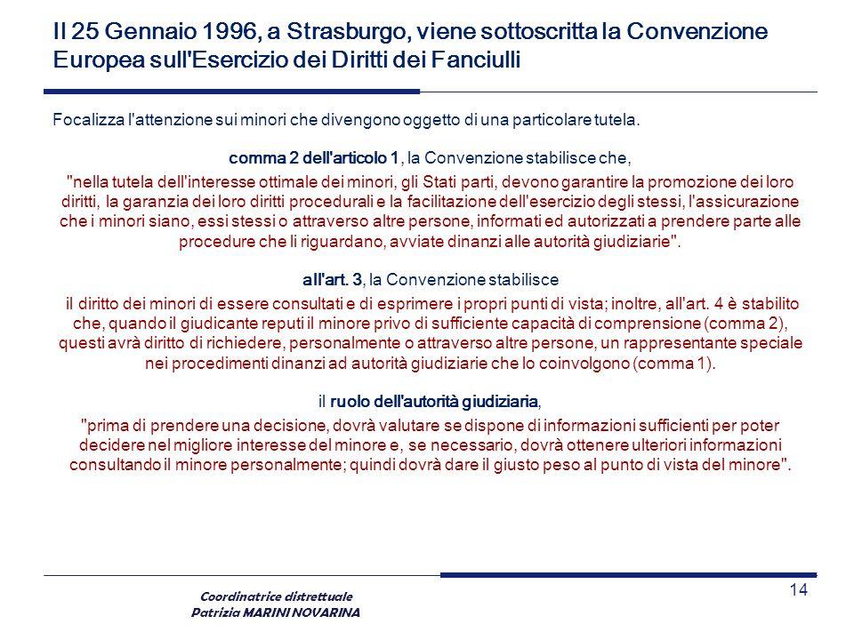 Coordinatrice distrettuale Patrizia MARINI NOVARINA Il 25 Gennaio 1996, a Strasburgo, viene sottoscritta la Convenzione Europea sull'Esercizio dei Dir