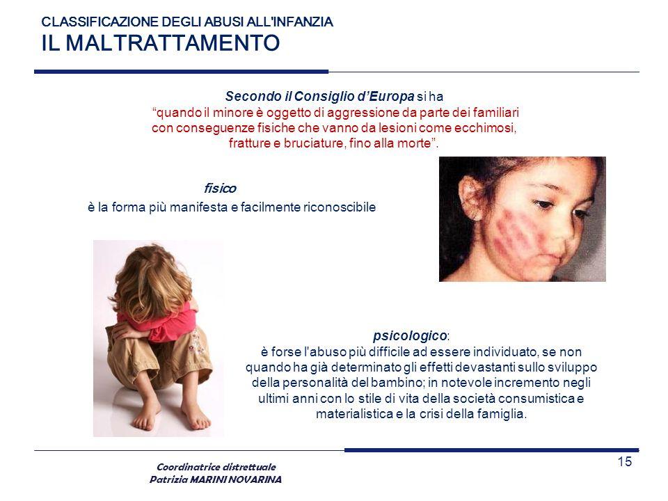 Coordinatrice distrettuale Patrizia MARINI NOVARINA fisico è la forma più manifesta e facilmente riconoscibile CLASSIFICAZIONE DEGLI ABUSI ALL'INFANZI