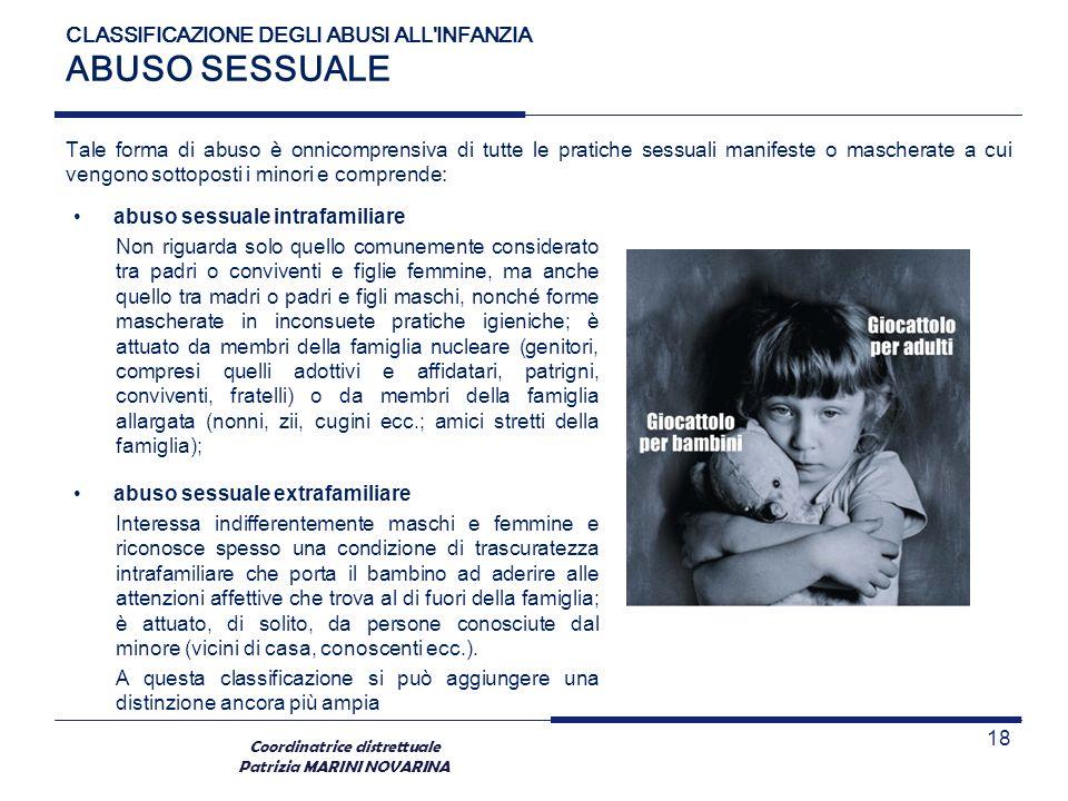 Coordinatrice distrettuale Patrizia MARINI NOVARINA CLASSIFICAZIONE DEGLI ABUSI ALL'INFANZIA ABUSO SESSUALE Tale forma di abuso è onnicomprensiva di t
