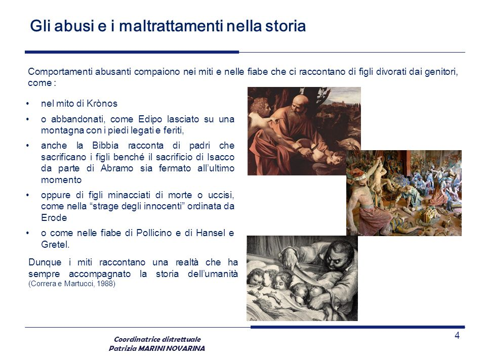 Coordinatrice distrettuale Patrizia MARINI NOVARINA La realtà dell abuso Tali violenze, secondo questa ricerca, sono commesse, nella quasi totalità dei casi, in ambiente domestico (91%).