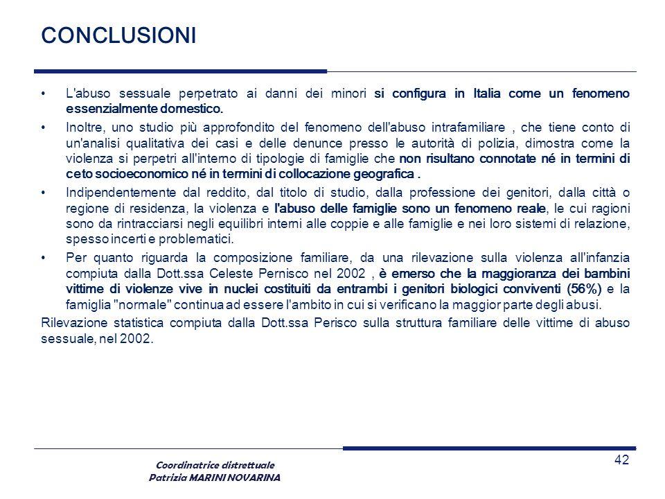 Coordinatrice distrettuale Patrizia MARINI NOVARINA CONCLUSIONI L'abuso sessuale perpetrato ai danni dei minori si configura in Italia come un fenomen
